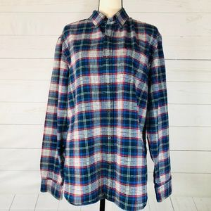 Gap Plaid Button Front Flannel Shirt Size Large